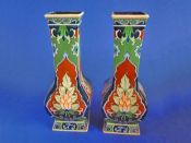 Pair of Large Shelley Intarsio Vases by Walter Slater c1912